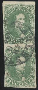 CSA Scott #1 Stone 2 Pos 28, 38 Used Vert Pair of Confederate Stamps Charleston