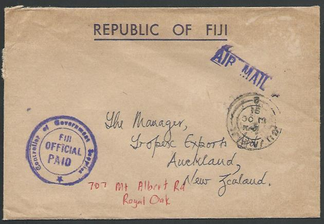FIJI 1991 cover to NZ, ex Suva with FIJI OFFICIAL PAID ....................13208