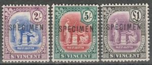 ST VINCENT 1913 BADGE 2/- 5/- AND 1 POUND SPECIMEN WMK MULTI CROWN