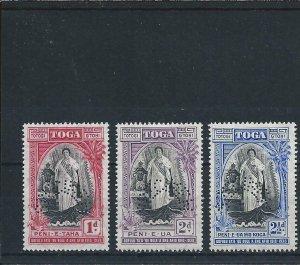TONGA 1938 ANNIVERSARY SET OF THREE SPECIMEN MM SG 71s/73s CAT £100