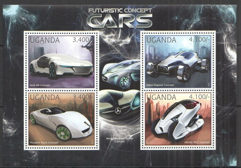 UG064 2012 UGANDA FUTURISTIC CONCEPT CARS AUTOMOBILES TRANSPORT #2911-2914 MNH