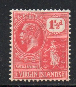 British Virgin Islands Sc 56 1927 1 1/2d rose red G V & Seal stamp mint