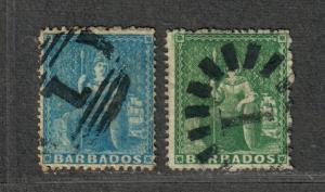 Barbados Sc#13+14 Used/F-VF, Cv. $115