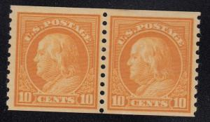 497 Pair VF original gum lightly hinged cv $40 with nice color  ! see pic !
