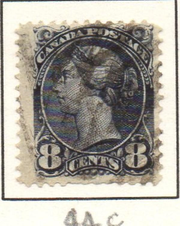 Canada Sc 44c 1893 8c gray small Queen Victoria stamp used