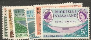 Rhodesia & Nyasaland SG 32-7 Singles MNH (10cnc)