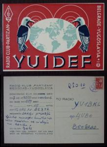 Yugoslavia Radio Card! serbia belgrade partizan club bird birds fauna J91