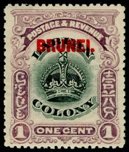 BRUNEI SG11, 1c black & purple, LH MINT. Cat £50.