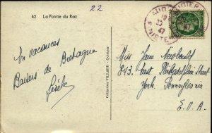 Pointe du Raz BW Real Photo Postal Card Used 1947 France NY with 2fr Stamp F