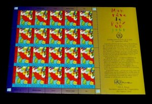 U.N. GENEVA #430, 2004, MY DREAM FOR PEACE, PANE/20, MNH, NICE!! LQQK!!