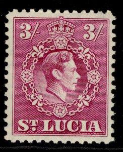 ST. LUCIA GVI SG136a, 3s bright purple, M MINT.