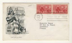 US - 1952 - Scott 1004 FDC - 3c 200th Birthday Anniversary of Betsy Ross - Pair