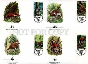 239834 ZAIRE WWF Okapi 1984 year set of 4 FDC