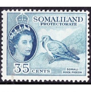 SOMALILAND PROTECTORATE 1953 QEII 35c Blue SG142 MH
