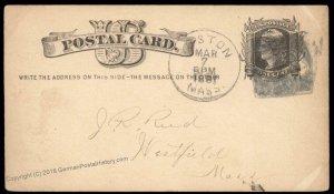 USA 1800s Boston Mass Negative Numeral 18 Fancy Cancel Cover 94951