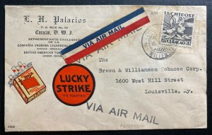 1935 Willemstad Curacao Advertising Lucky Strike Cover To Louisville KY USA