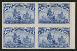 #233P3 4c COLUMBIAN BLOCK OF 4 PLATE PROOF ON INDIA MOUNTED ON CARD XF-S HW5374