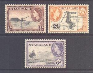 Nyasaland SG173a 176a & 180a, 1953 Perf 12 x 12.1/2 Lot MH*