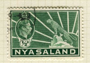 NYASALAND; 1938 early GVI issue fine used 1/2d. value