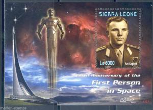 NEW ISSUE  SIERRA LEONE 50TH ANNIVERSARY FIRST MAN IN SPACE YURI GAGARIN S/S