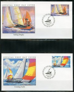 MARSHALL ISLANDS 2001 WATER SPORTS SET ON FOUR  FIRST DAY COVERS