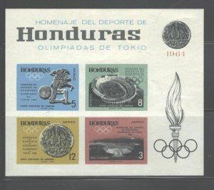 HHONDURAS TOKIO 1964 OLYMPICS MS#C338 - C339 +#C341 +# C344  IMPERFORATED  MNH