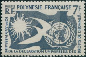 French Polynesia 1958 Sc#191,SG17 7f Human Rights MNH