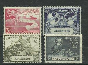 ASCENSION 1949 Set of 4 U.P.U. Issues, Sg 52-55, Mounted Mint ( Box 5-5}