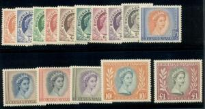 RHODESIA & NYASALAND #141-55, Complete set except for #143B, NH, Scott $109.25