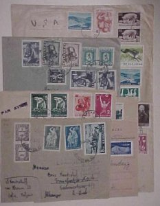 BULGARIA 7 SMALL COVERS  1950's 5 TO USA ,2 TO GERMANY