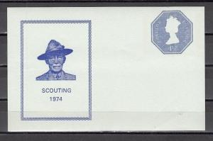 Great Britain, 1974 issue. Postal validity sheet.  Scout Founder as Cachet. ^