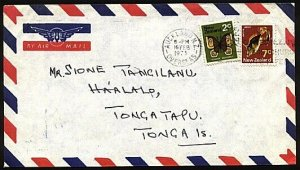 NEW ZEALAND TO TONGA 1973 9c rate airmail cover - 2c butterfly + 7c fish...97272