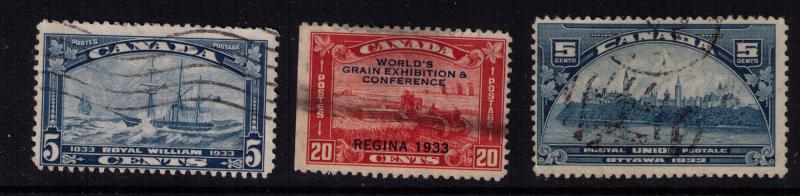 Canada #  202-4 Used set F-VF  stamps Cat $ 29