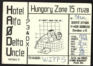 QSL QSO RADIO CARD Cartoon of Man in Tub,HA0DU,Steve, Hungary Zone (Q2710)