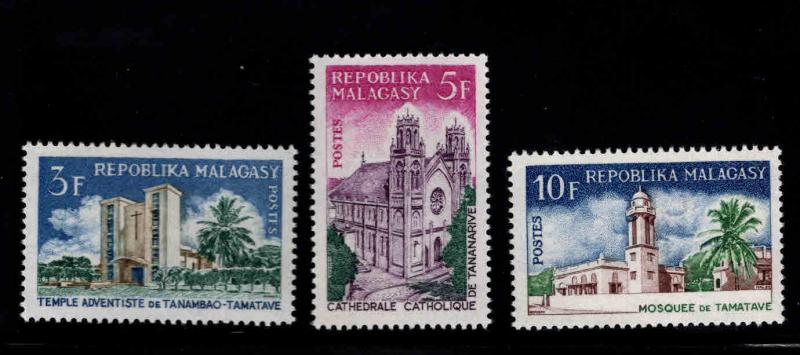 Madagascar Scott 396-398 MH* cathedral stamp set