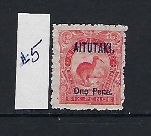 AITUTAKI SCOTT #5 1903 SURCHARGE- 6P (RED) - MINT HINGED