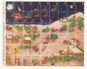 Cinderella TB Christmas Stamps 1976 USA Sheet of 54 Seals MNH