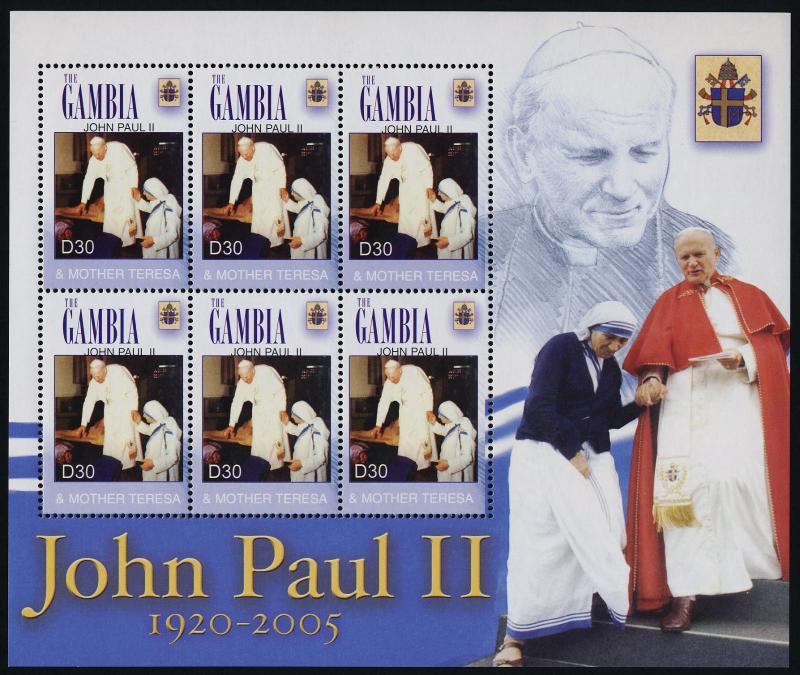 Gambia 2961 sheet MNH Pope John Paul II