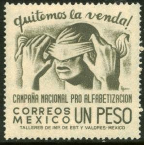 MEXICO 809, 1Peso Blindfold, Literacy Campaign MINT, NH. F-VF.