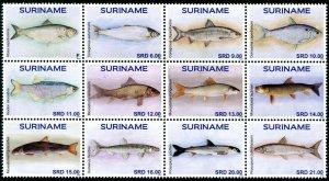 HERRICKSTAMP NEW ISSUES SURINAM Fish 2020 Block of 12 Different