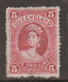 Queensland Sc 81 MLH. 1883 5sh QV, perf 12 thick paper