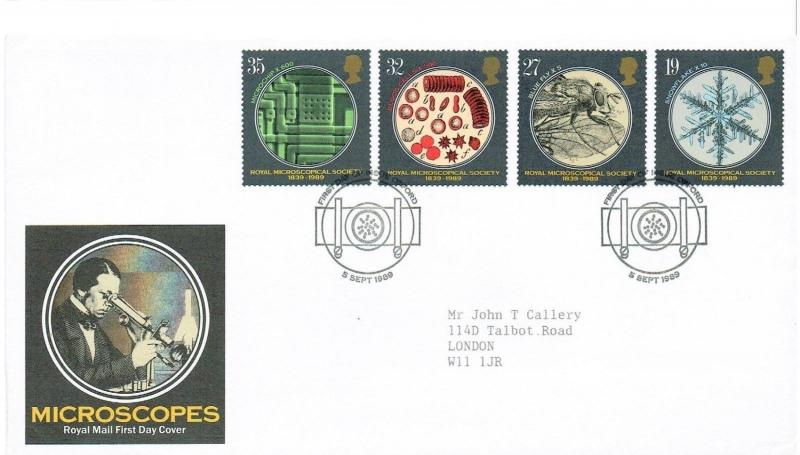 GB 1989 FDC - ROYAL MICROSCOPICAL SOCIETY 1839-1989 - OXFORD H/S