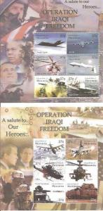 Micronesia 2003 Operation Iraqi Freedom Set of 2 6 Stamp Sheets #545-6 13Q-022