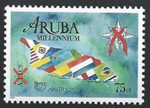 Aruba #193 75c America Issue, Campaign against AIDS 2000 mnh