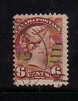Canada Sc 39 1872 6c yellow brown small Queen Victoria stamp used