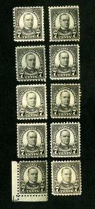 US Stamps # 588 F-VF Lot of 10 OG NH Scott Value $260.00