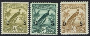 NEW GUINEA 1931 DATED BIRD OS 4D 5D AND 6D