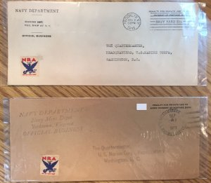 US Navy Department (Marine Corps) Covers (2) 1933 w/NRA