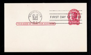 SCOTT #UX43 POSTAL CARD 1¢ LINCOLN CARMINE ON BUFF FIRST DAY CANCEL 1952