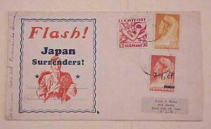 SURINAME  PATRIOTIC COVER JAPAN SURRENDERS 18 AUG 945 CACHETED